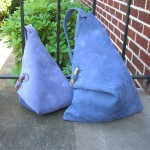 Standard Corn Flower blue Triangle bag with larger 14 x 18 version