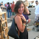 Sara with her new black and tan Triangle Purse at Last Thursday